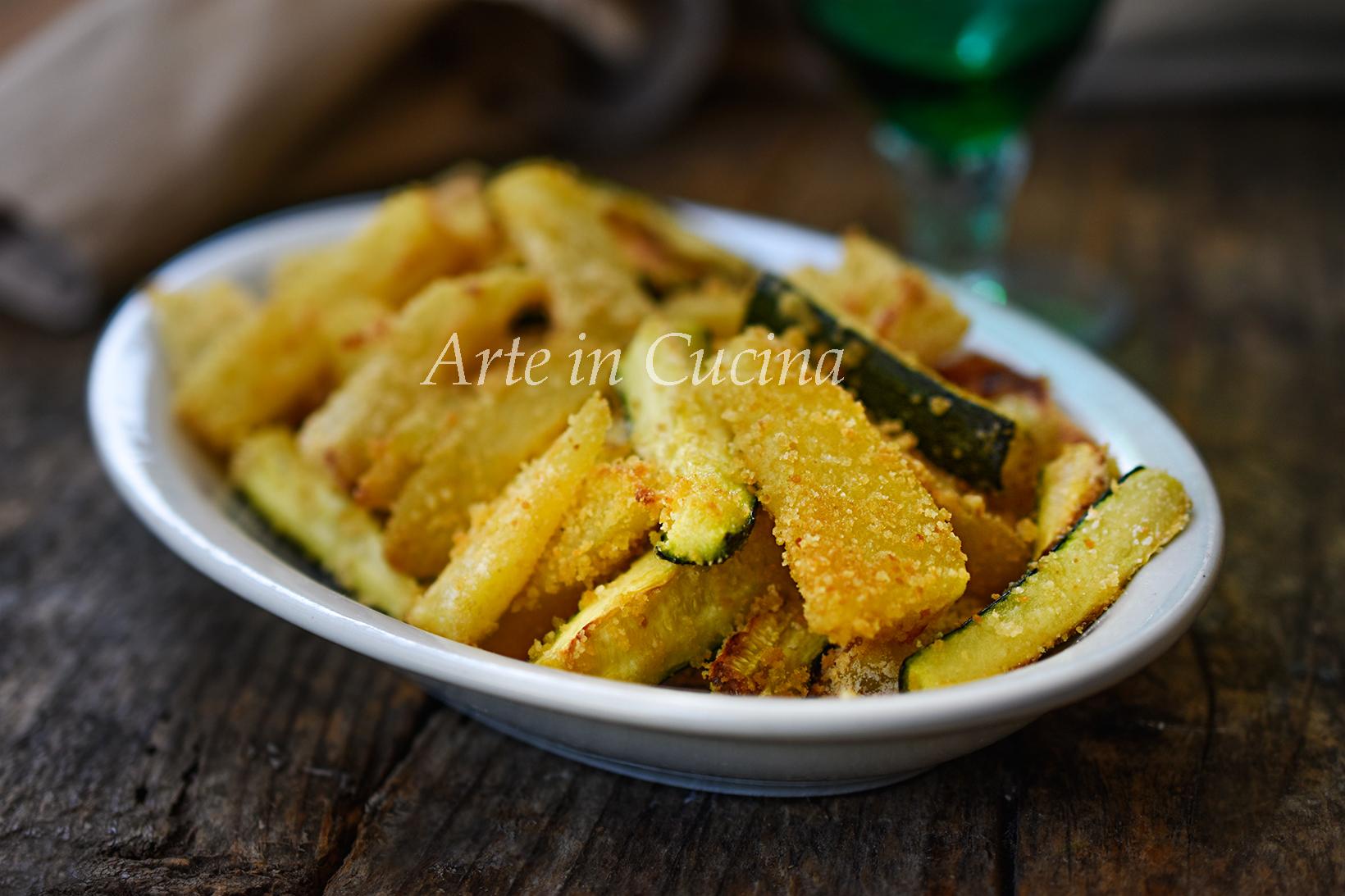 Patate e zucchine gratinate sabbione contorno saporito vickyart arte in cucina