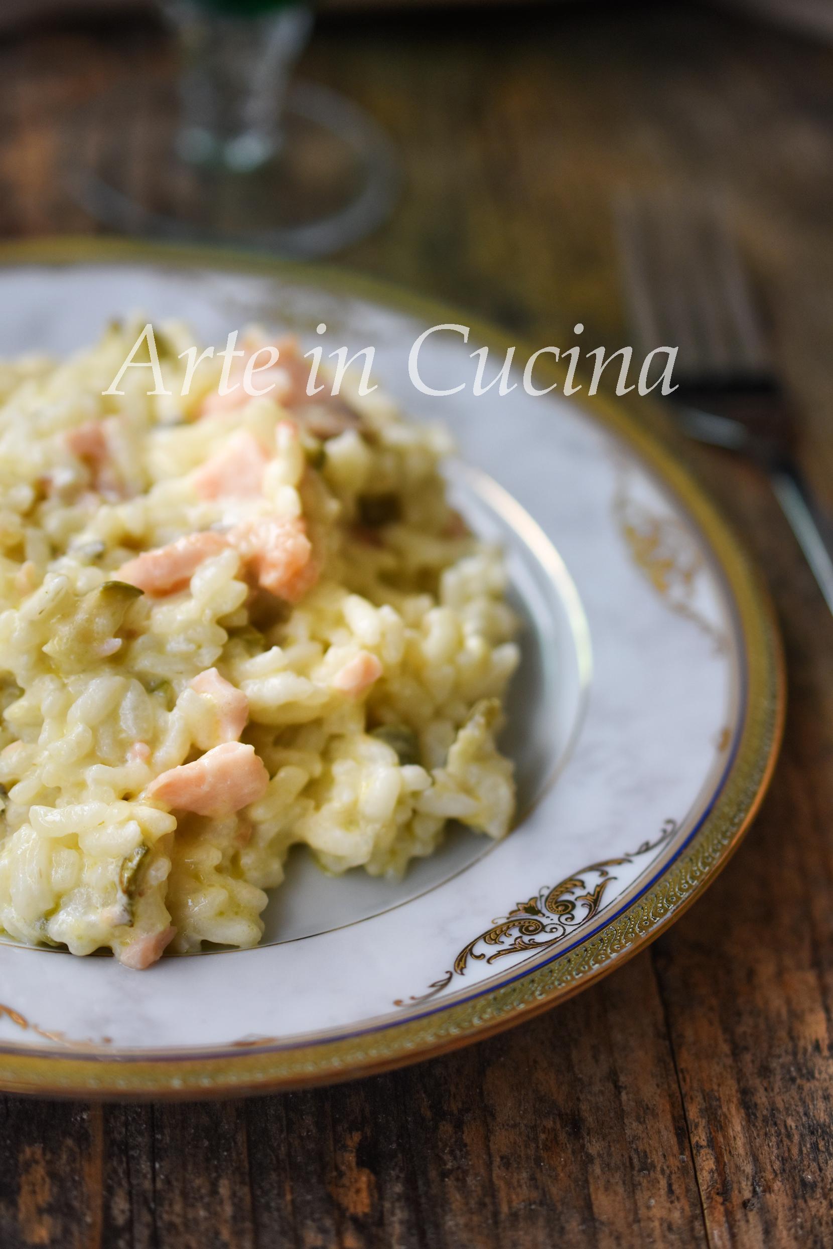Risotto zucchine e salmone con philadelphia cremoso vickyart arte in cucina