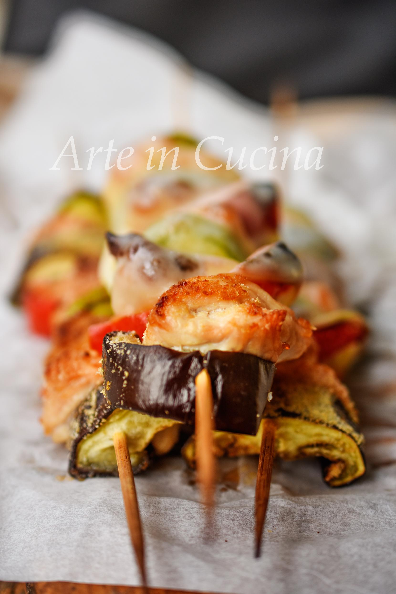 Spiedini di tacchino e formaggio filante ricetta sfiziosa per cena vickyart arte in cucina