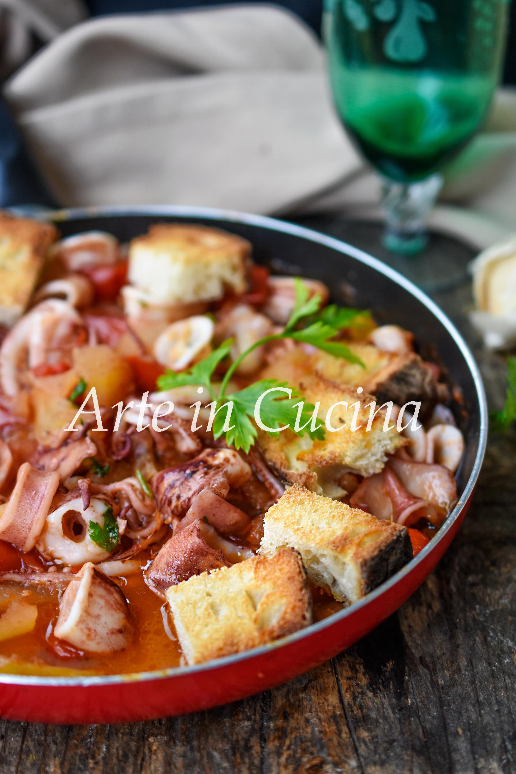 Totani alla praianese con patatae ricetta tipica di pesce vickyart arte in cucina