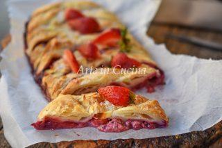Treccia di sfoglia fragole e mascarpone dolce da forno veloce vickyart arte in cucina