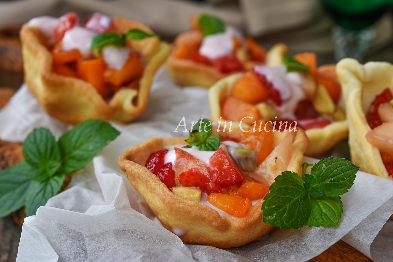 Cestini yogurt e frutta dolce veloce con pasta frolla vickyart arte in cucina