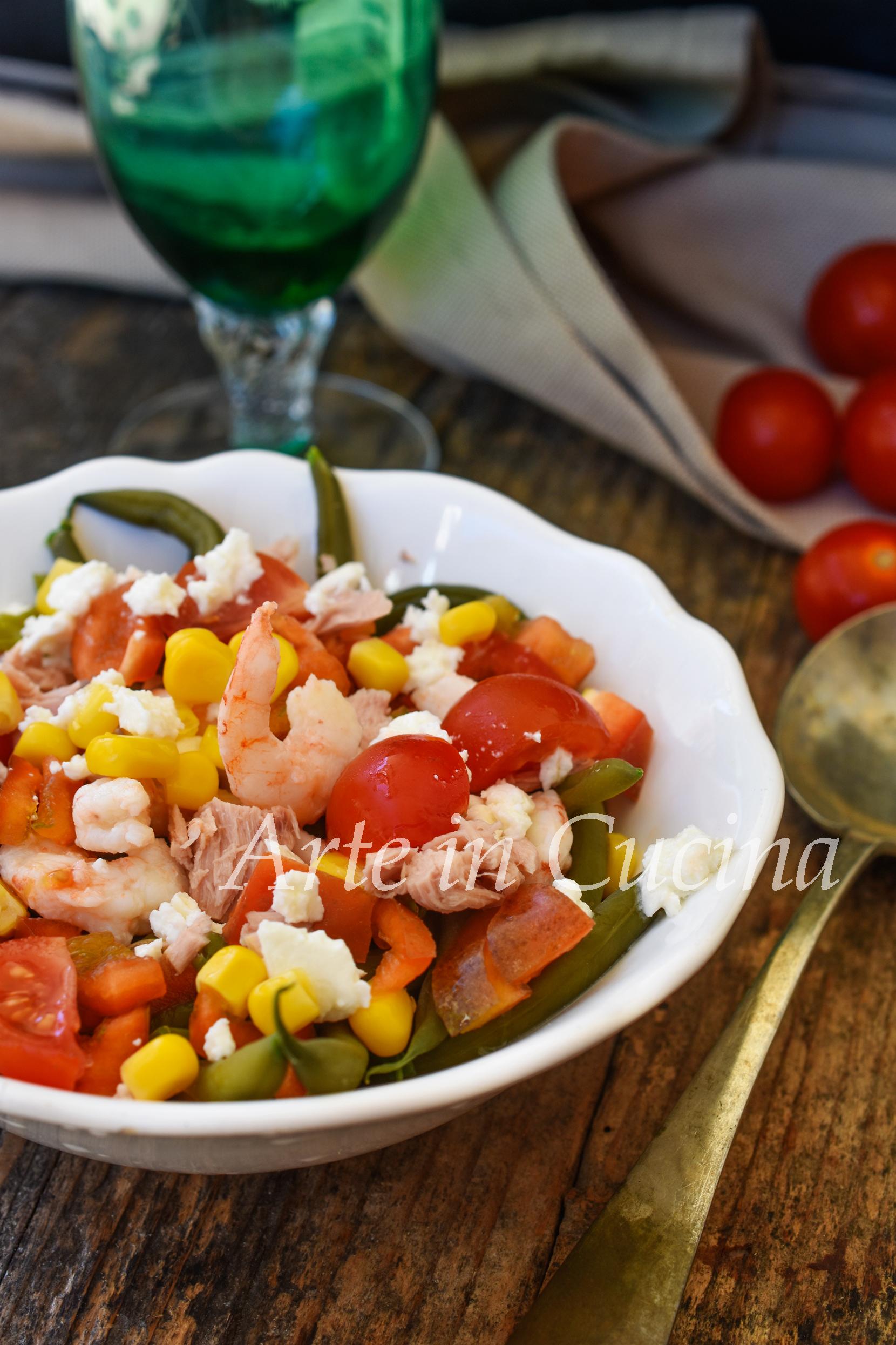 Insalata di fagiolini e gamberetti ricetta estiva leggera vickyart arte in cucina