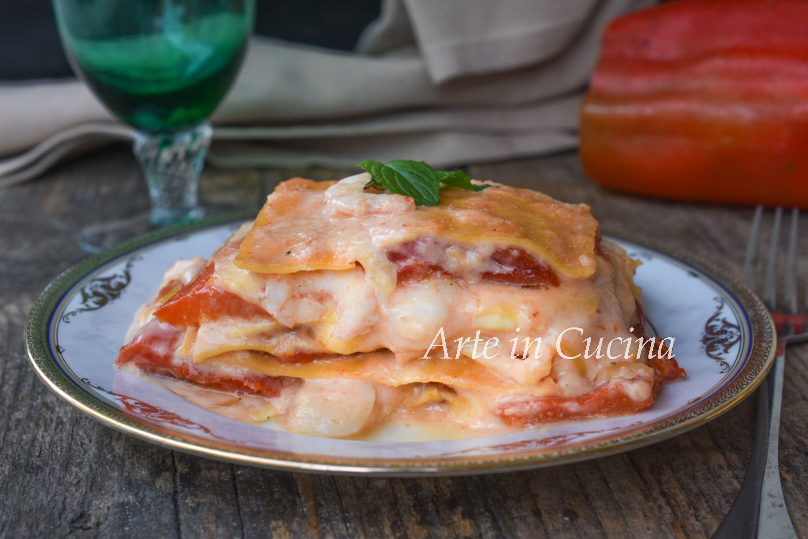 lasagne con peperoni e gamberetti ricetta facile e saporita vickyart arte in cucina