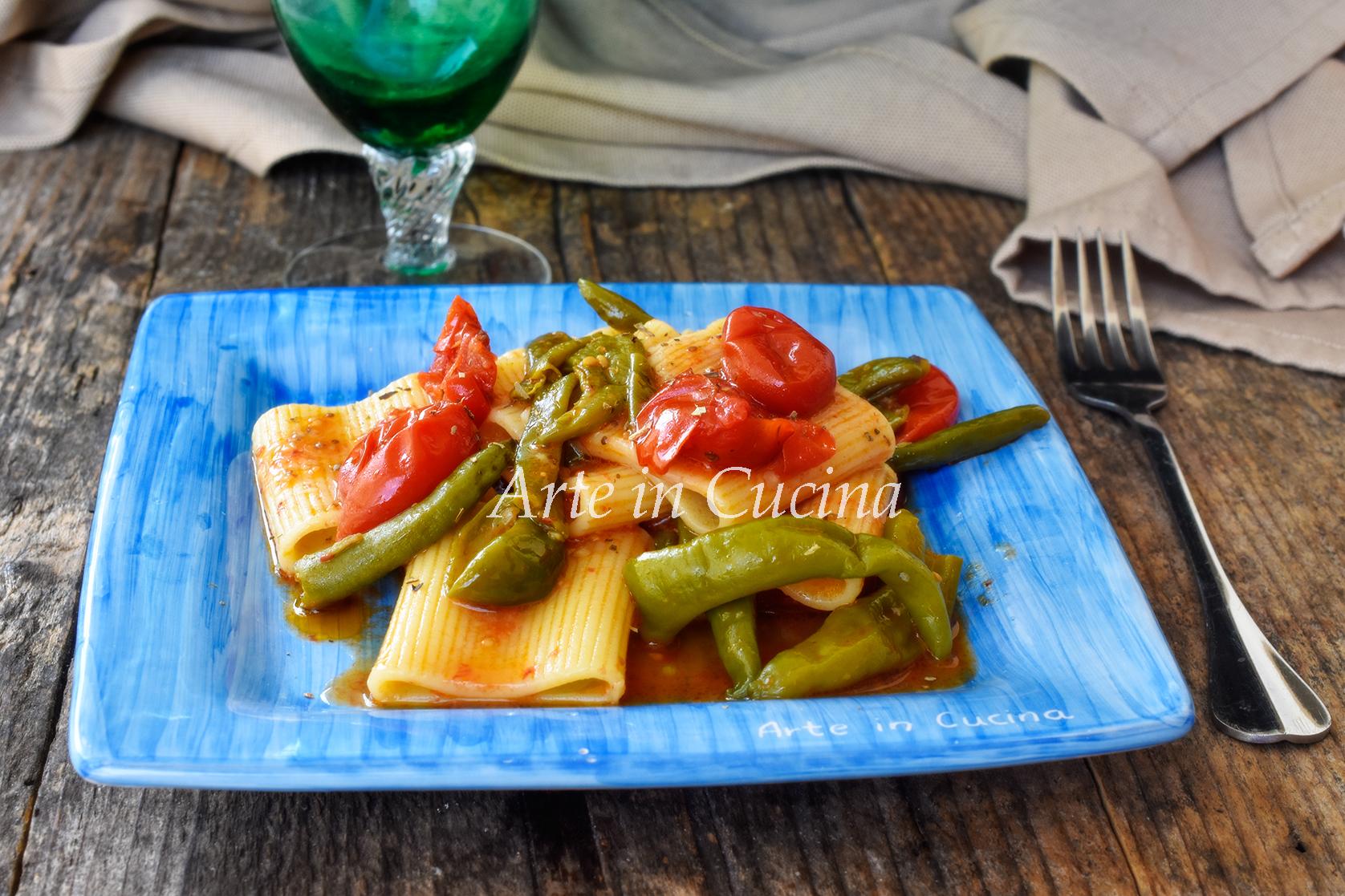 Paccheri con peperoncini verdi ricetta primo veloce e facile vickyart arte in cucina