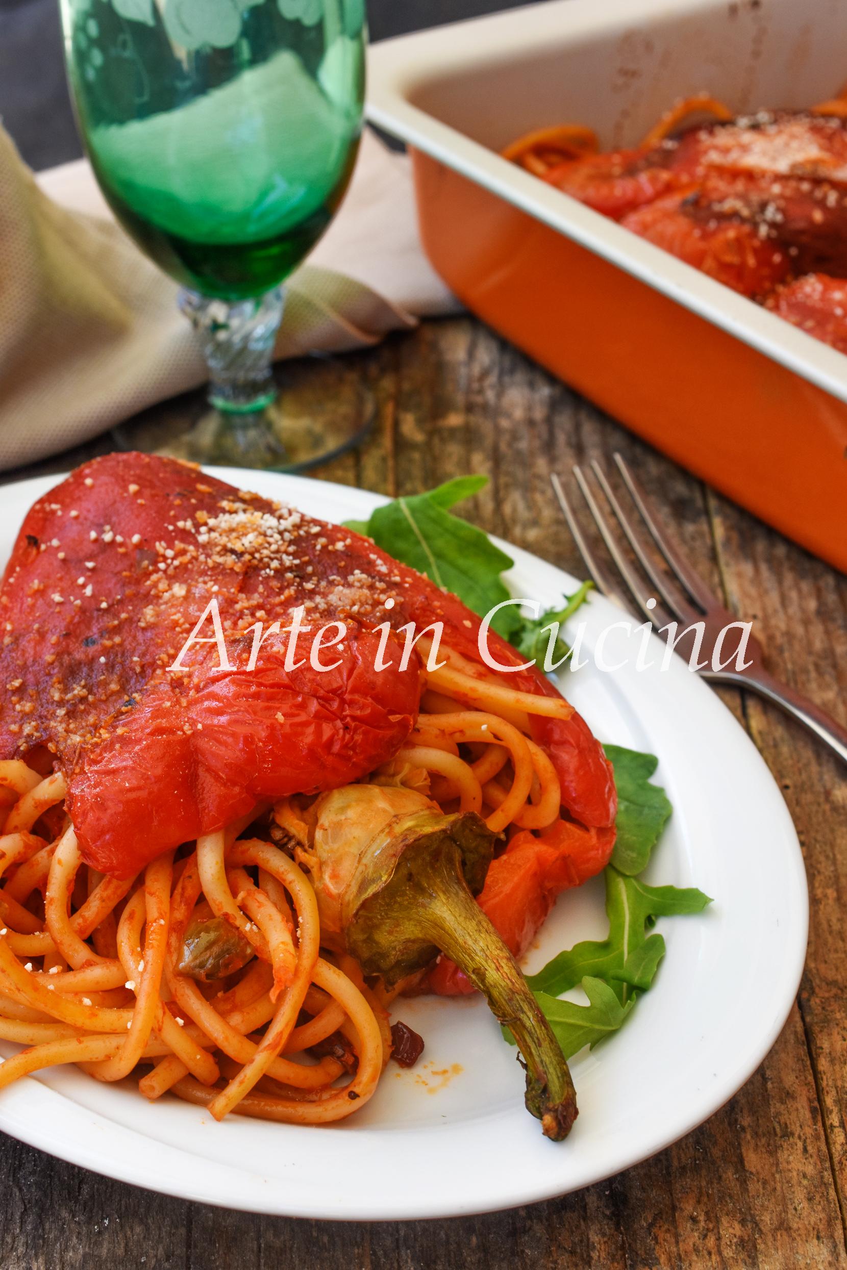 Peperoni ripieni di spaghetti capperi e olive ricetta facile da preparare vickyart arte in cucina