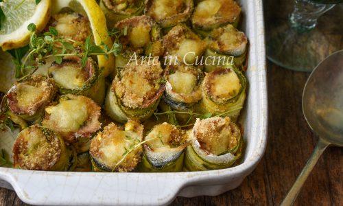 Rotolini di alici e zucchine ripieni e gratinati