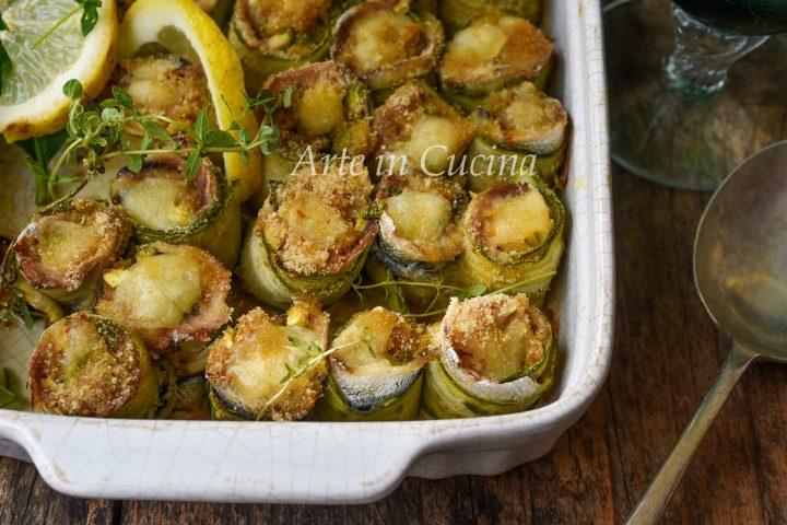 Rotolini di alici e zucchine ripieni e gratinati ricetta di pesce semplice vickyart arte in cucina