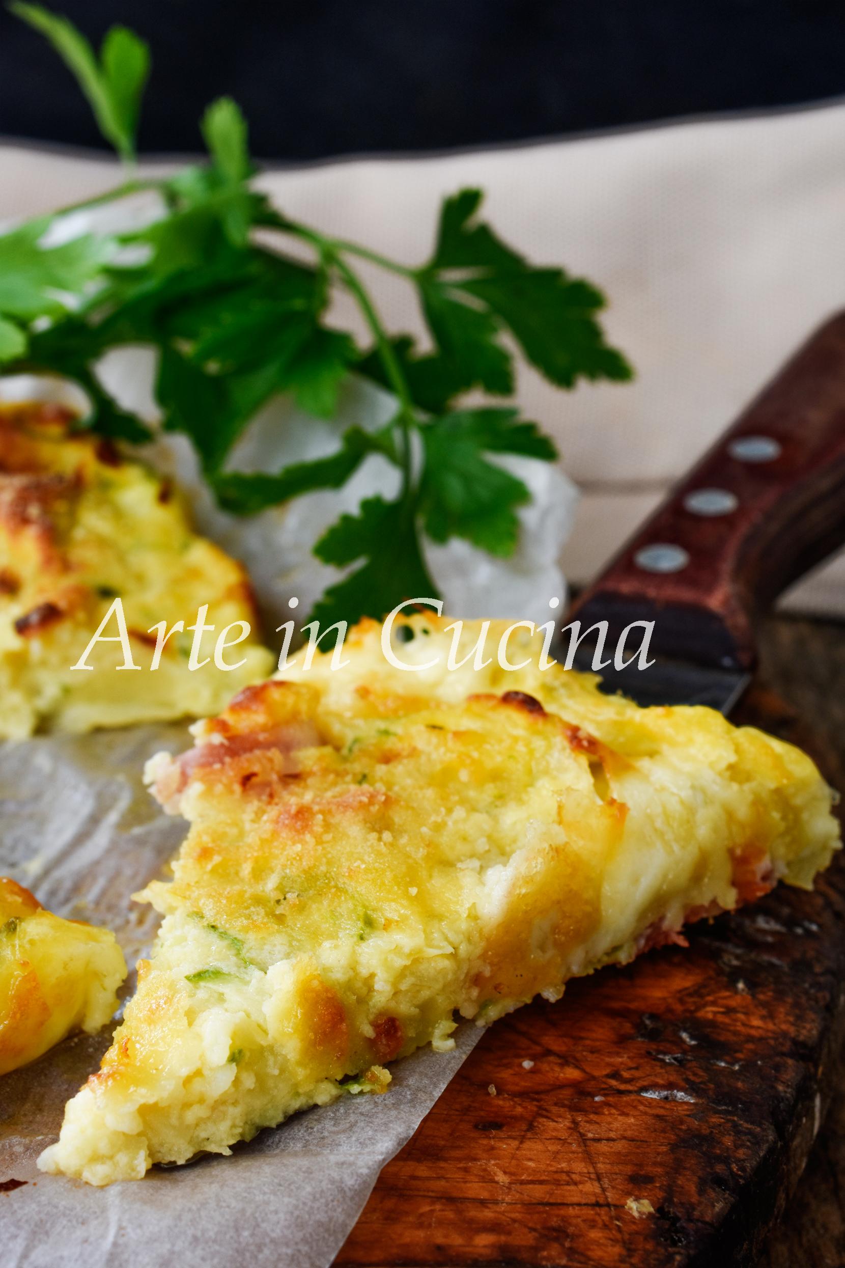 Schiacciata patate zucchine e speck ricetta piatto unico facile vickyart arte in cucina