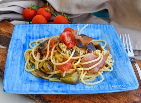 Spaghetti melanzane e speck