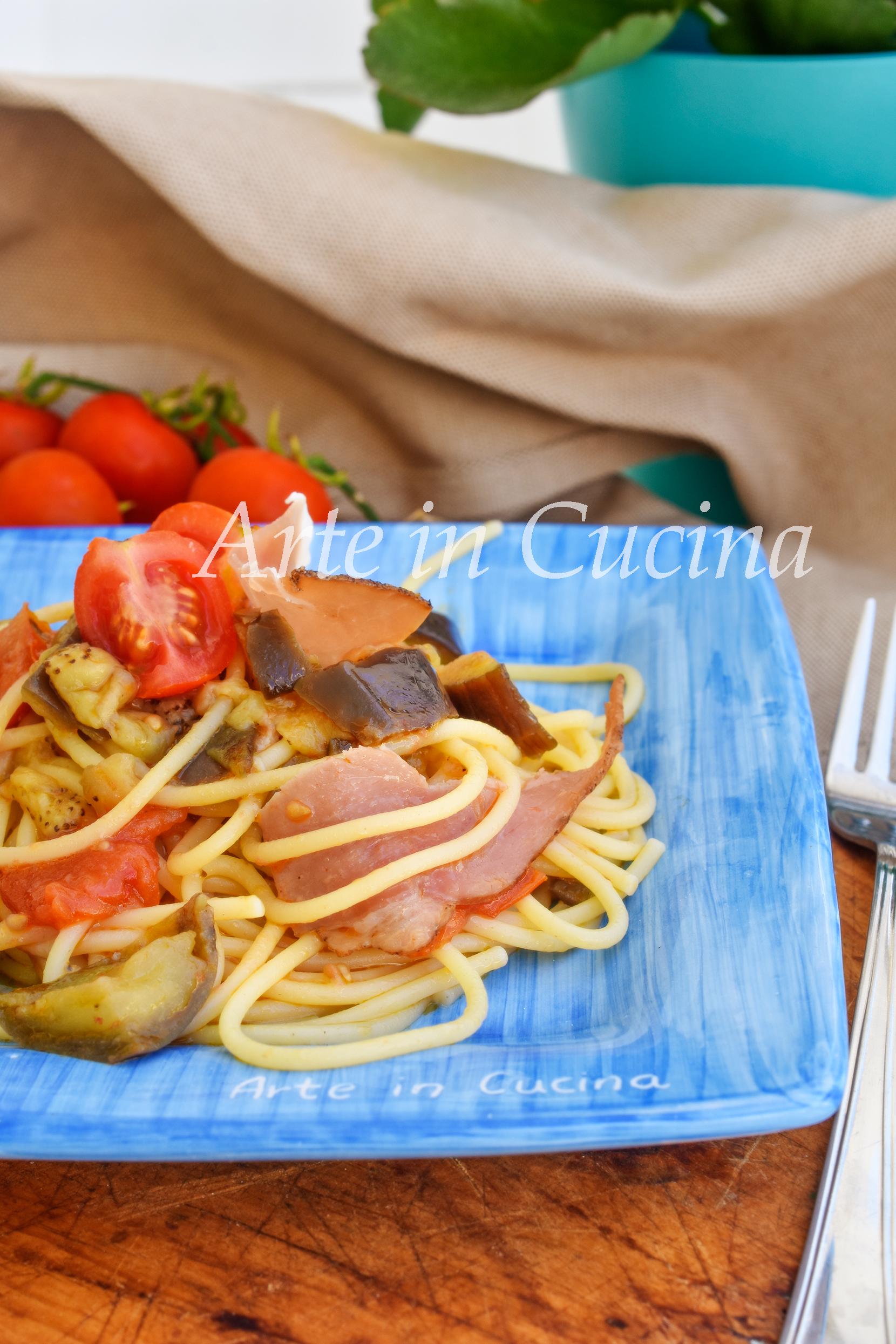 Spaghetti melanzane e speck primo piatto veloce per pranzo o cena vickyart arte in cucina