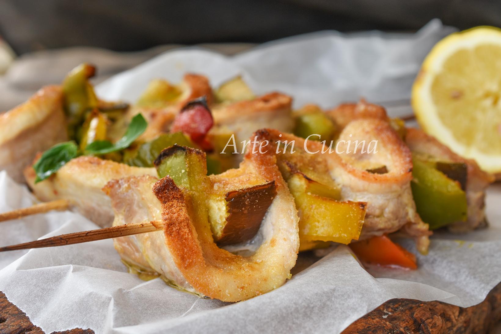Spiedini di maiale impanati e grigliati ricetta semplice e veloce vickyart arte in cucina