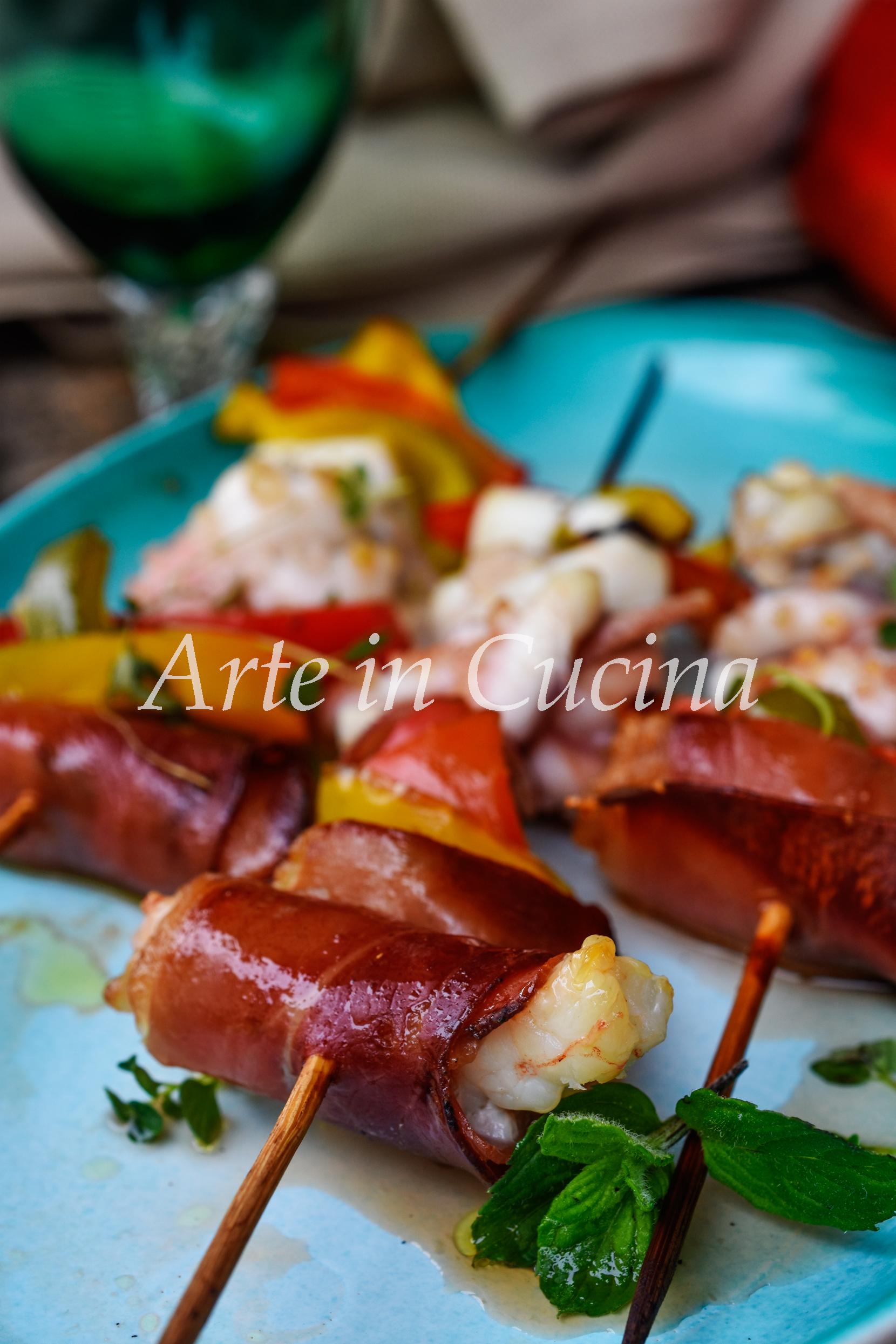Spiedini di gamberi e polpo ricetta facile di pesce vickyart arte in cucina