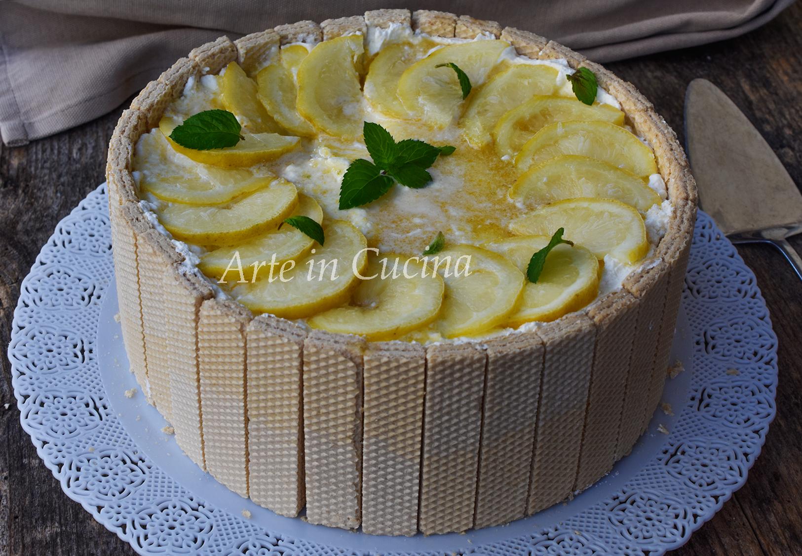 Torta di wafer al limone senza cottura dolce freddo veloce vickyart arte in cucina