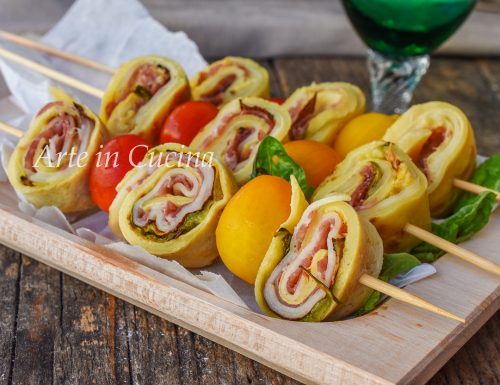 Spiedini di crepes con zucchine veloci
