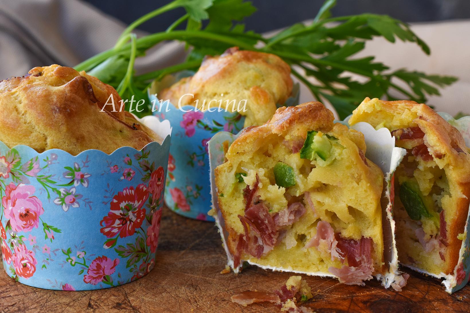 Muffin speck e zucchine ricetta salata veloce vickyart arte in cucina