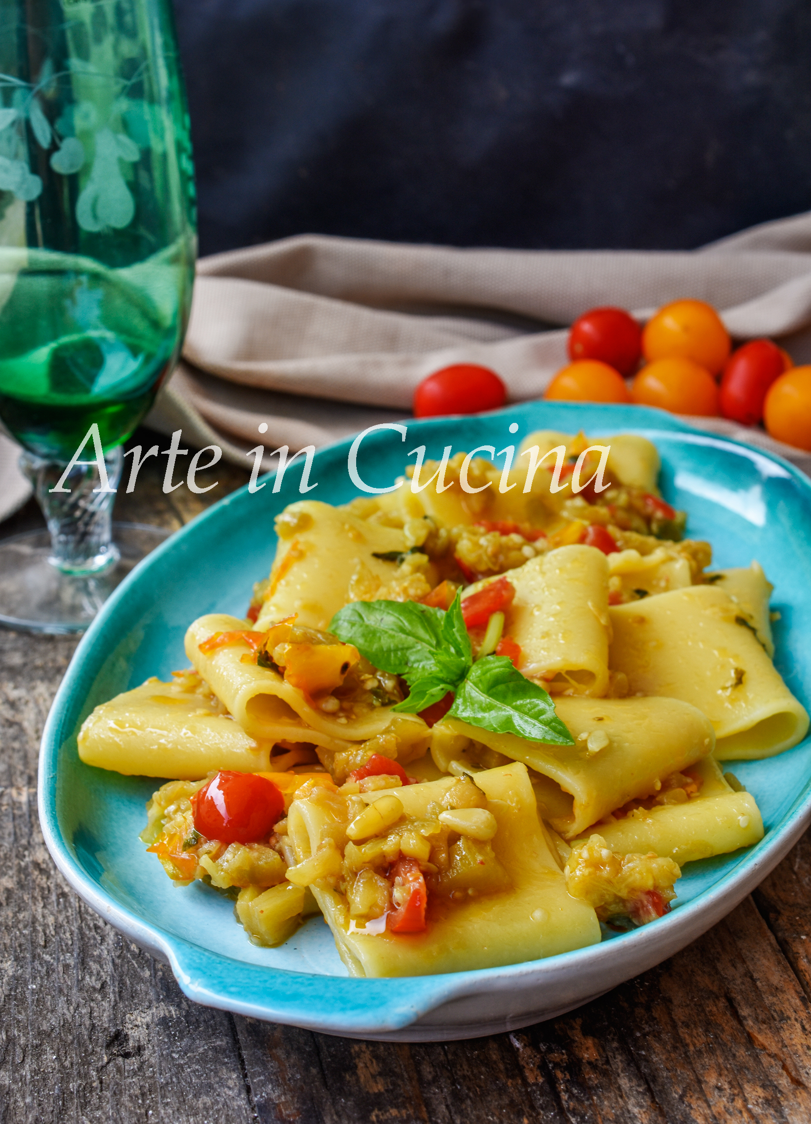 Paccheri con pesto alla mediterranea ricetta primo piatto veloce