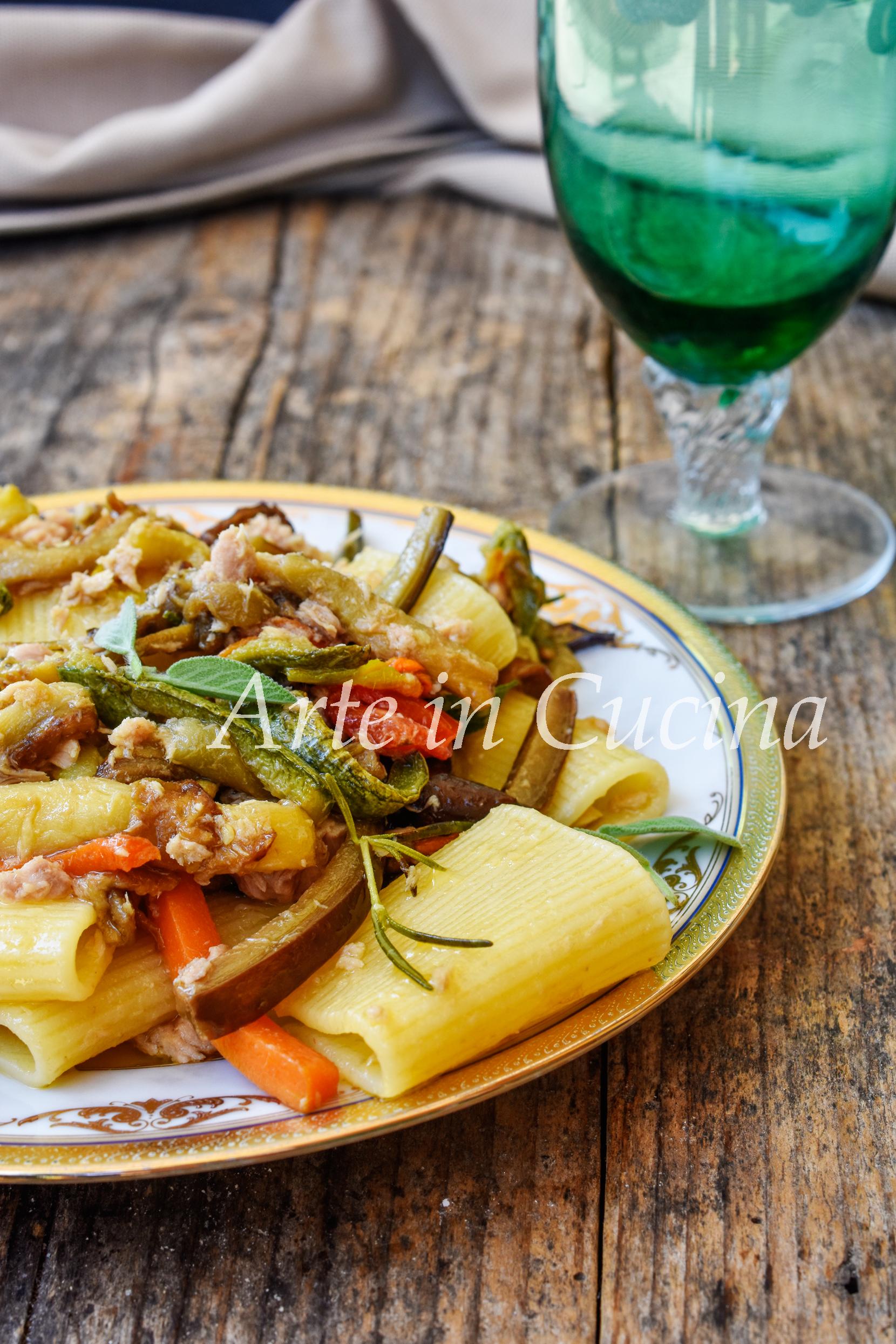 Paccheri con verdure e tonno veloci