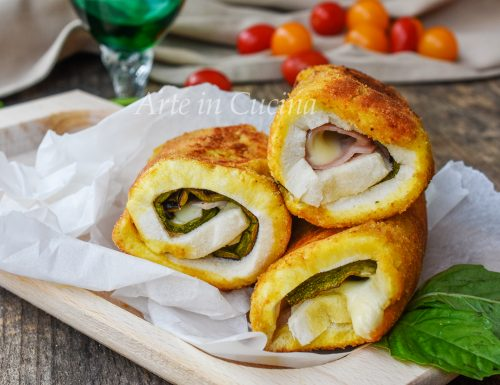 Rotolini di pane con zucchine e prosciutto