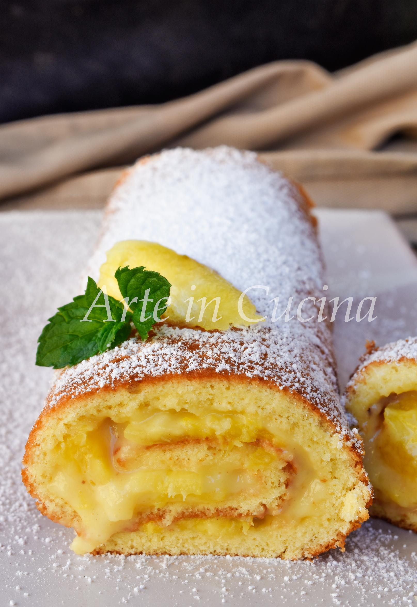Rotolo ananas e crema pasticcera dolce veloce vickyart arte in cucina
