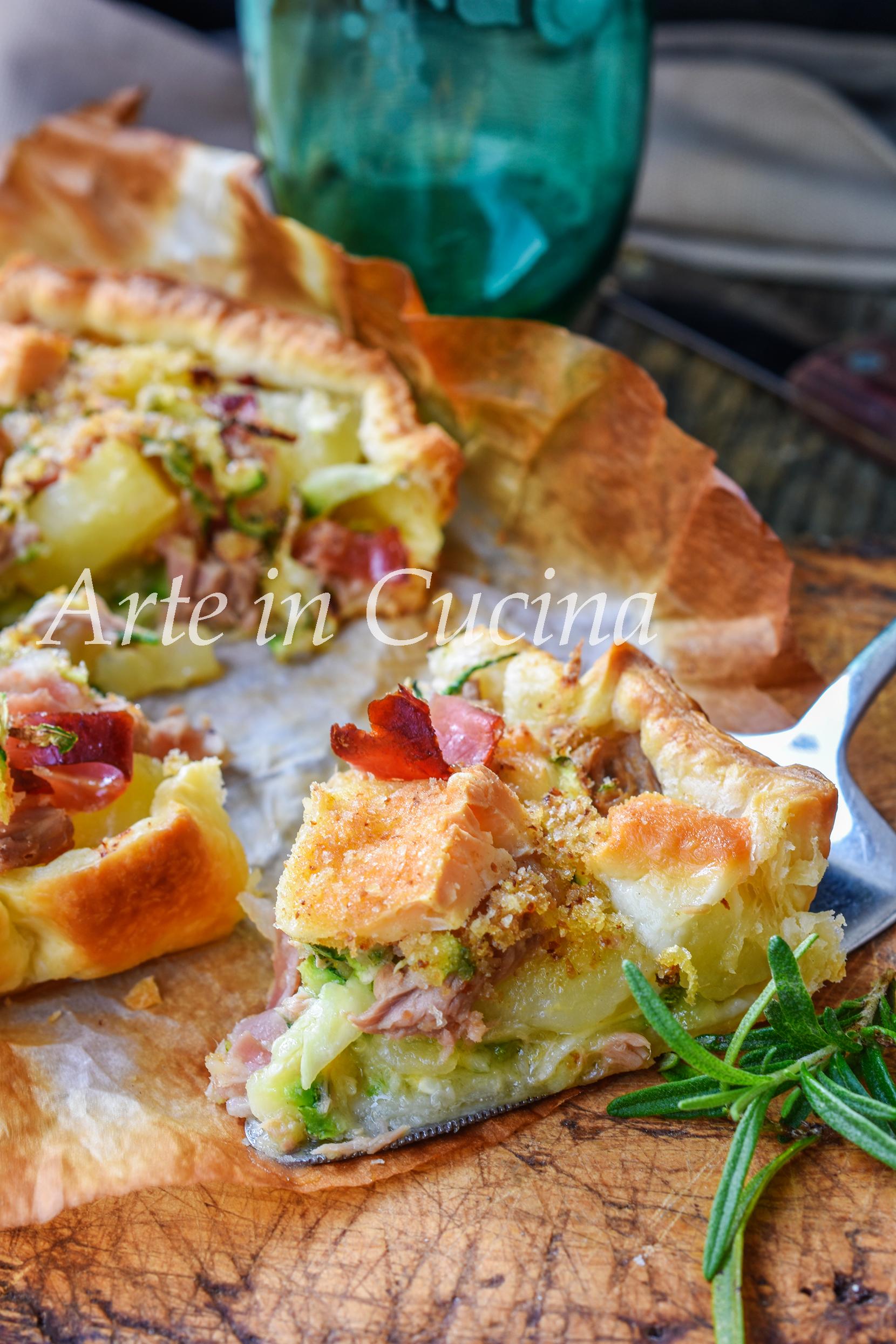 Crostata con zucchine tonno e speck