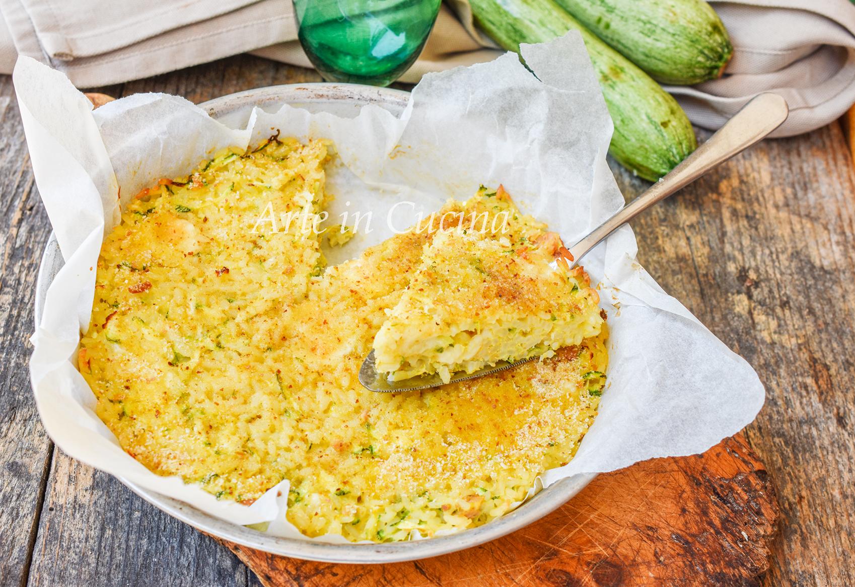 Frittata di riso con zucchine al forno o in padella