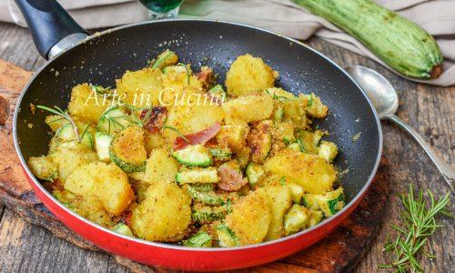 Patate gratinate con zucchine e speck