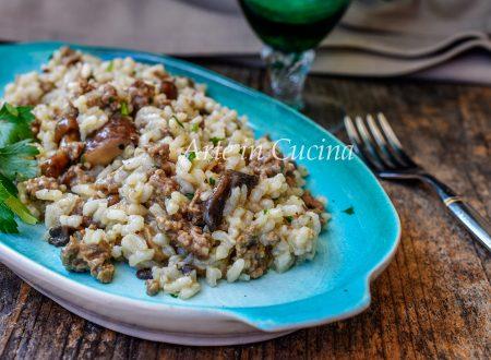 Risotto con funghi e carne ricetta veloce