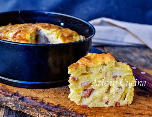 Torta morbida di patate e salumi veloce
