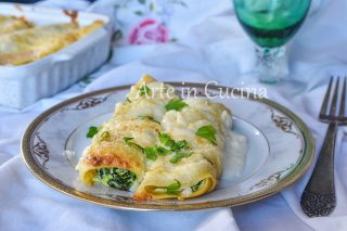 Cannoli di crepes ricotta e spinaci