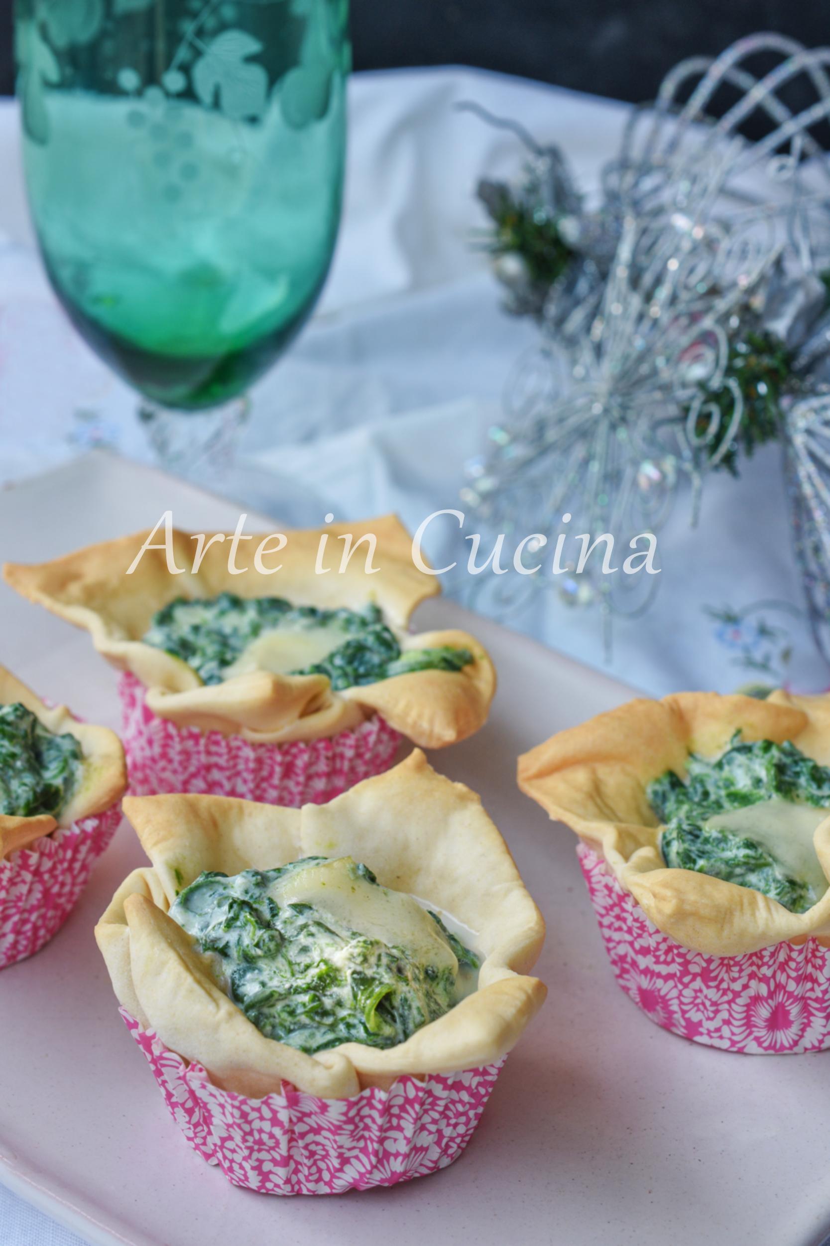 Cestini di lasagne con spinaci