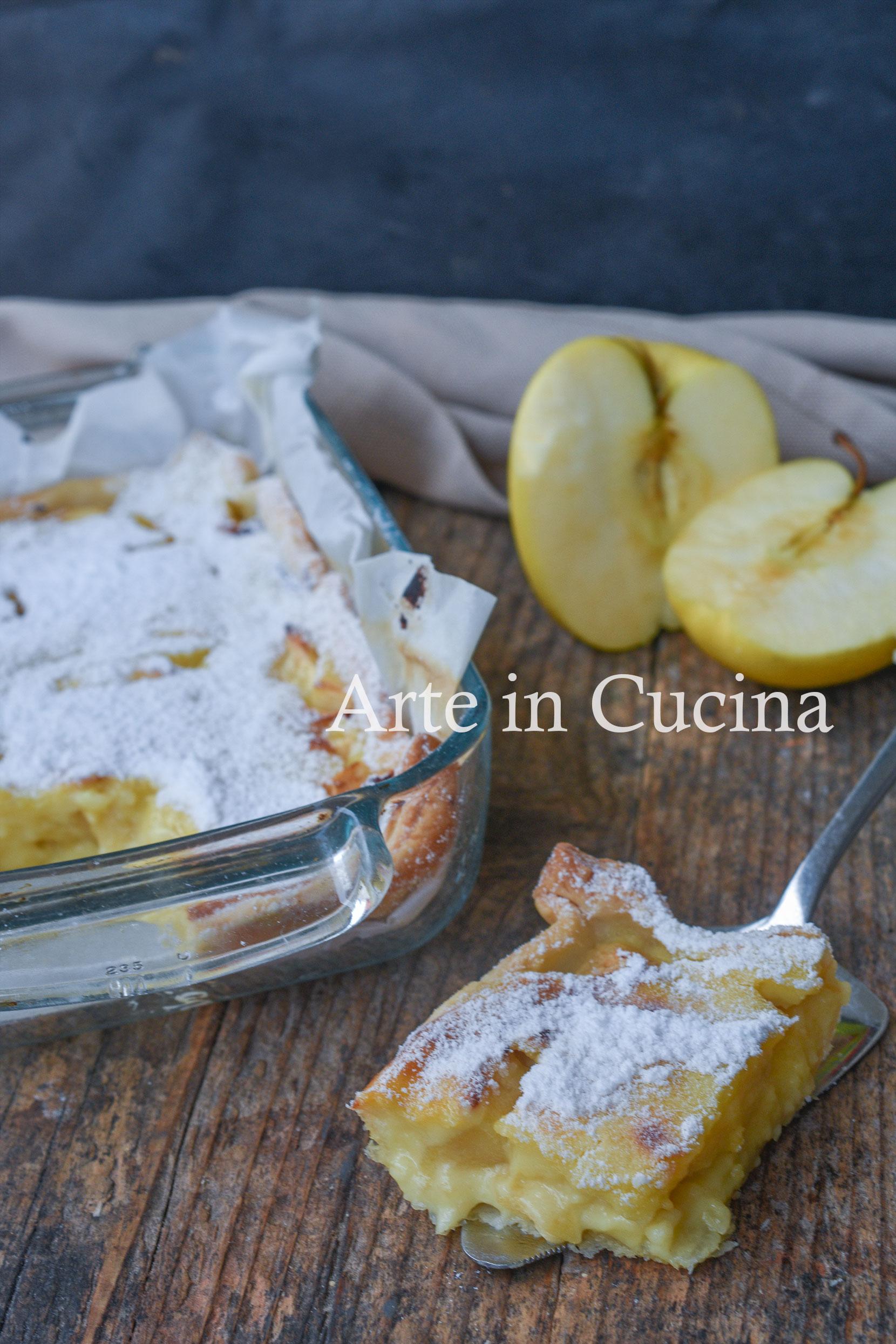 Teglia con mele e crema pasticcera