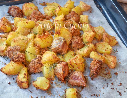 Bocconcini di pollo e patate gratinati croccanti