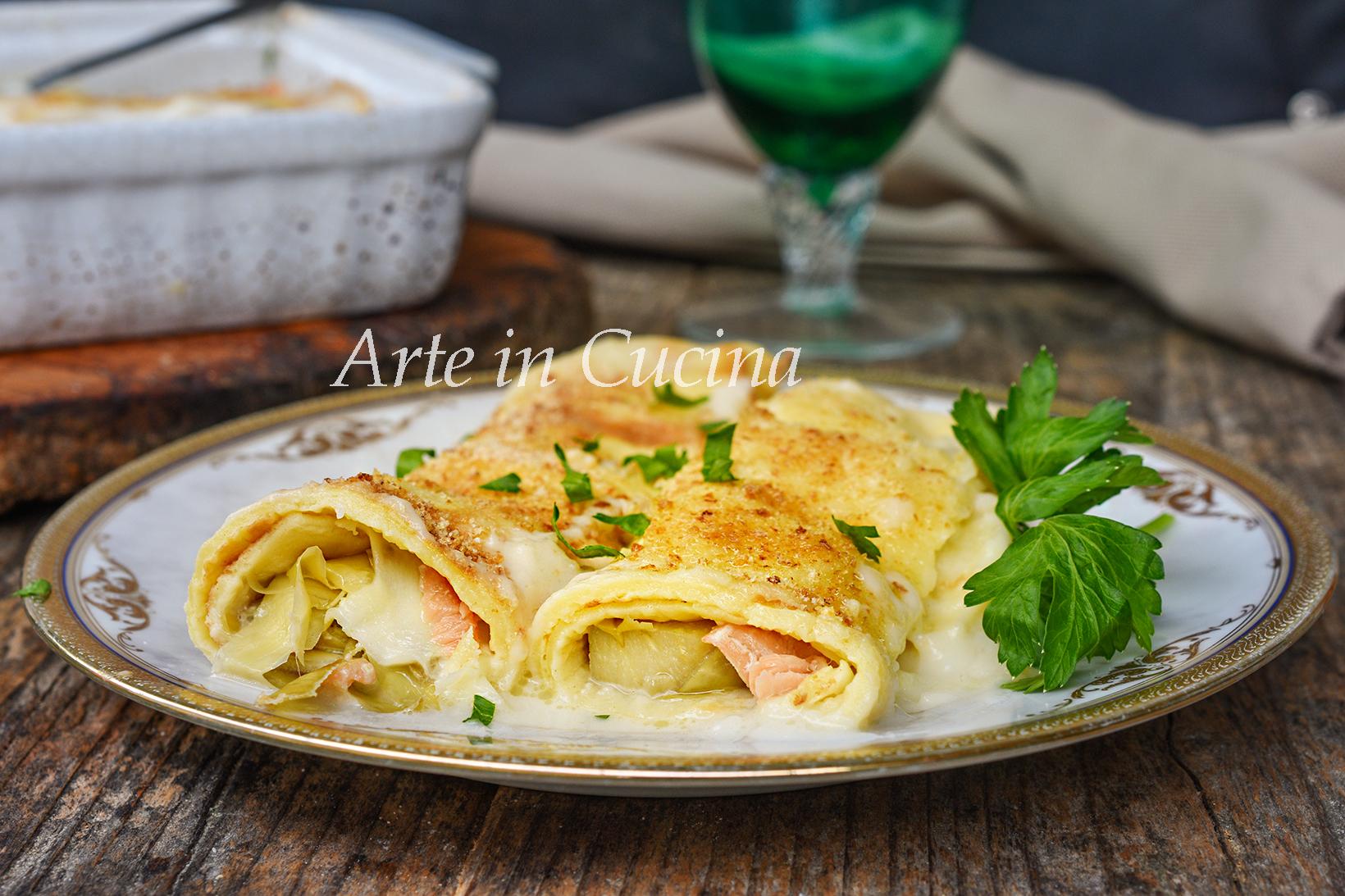 Cannelloni di crepes salmone e carciofi
