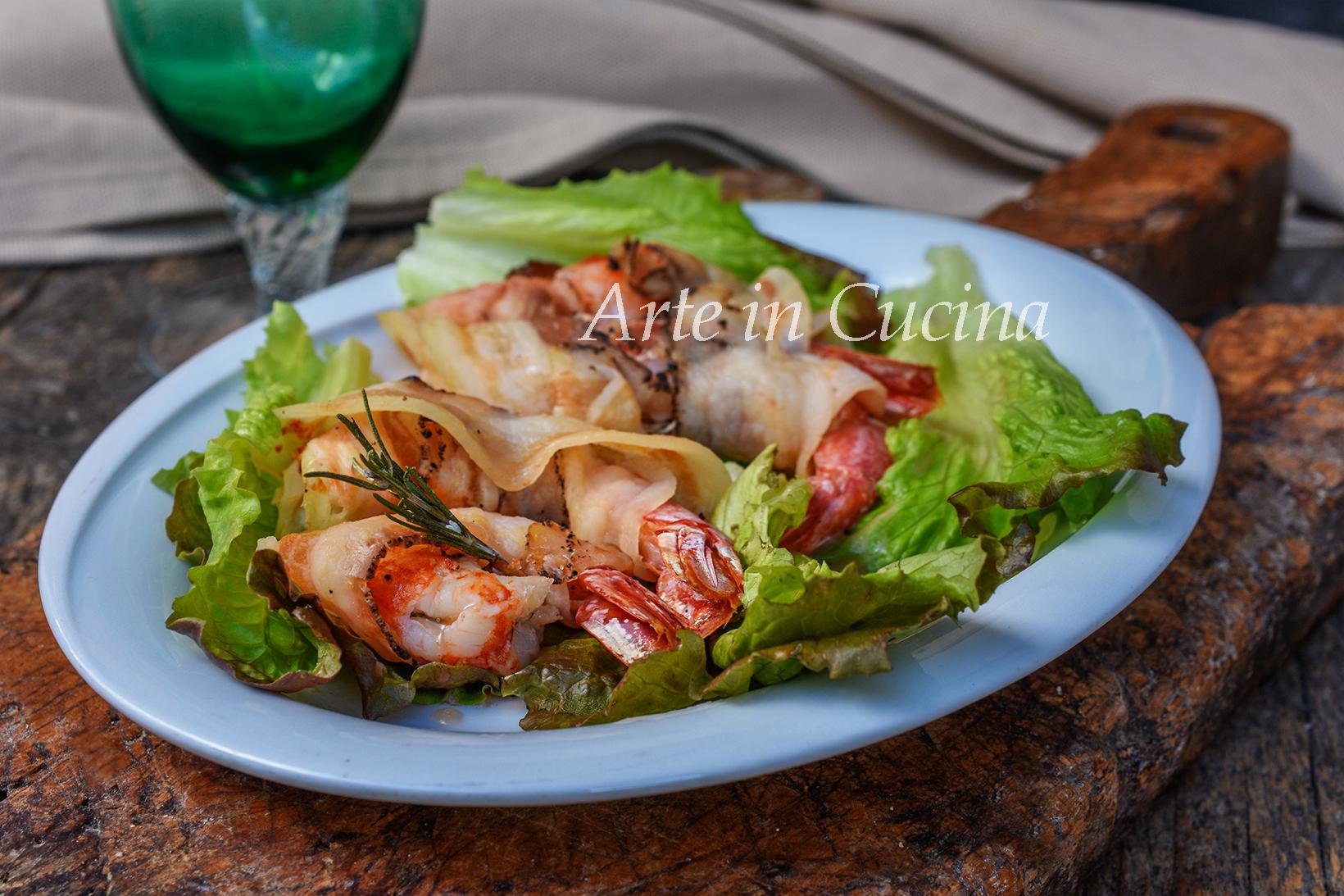 Gamberoni con pancetta ricetta veloce