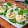 Uova ripiene con calamari antipasto