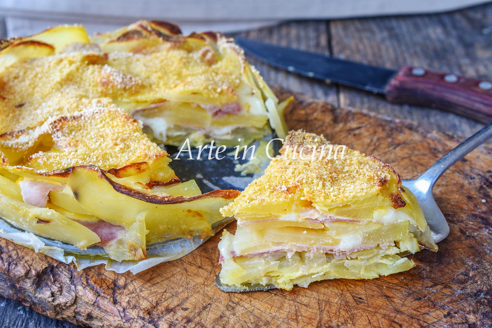 Torta 15 minuti di patate e prosciutto
