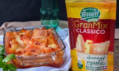 Paccheri con salsiccia e formaggi al forno
