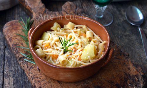Pasta con zucca e patate cremosa