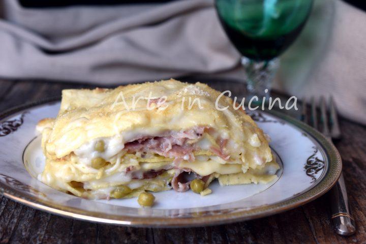 Lasagna con piselli e speck