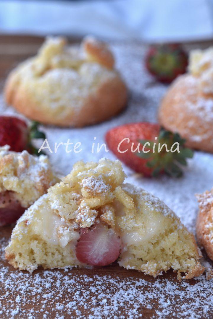 Tortine mimosa cuor di crema e fragole