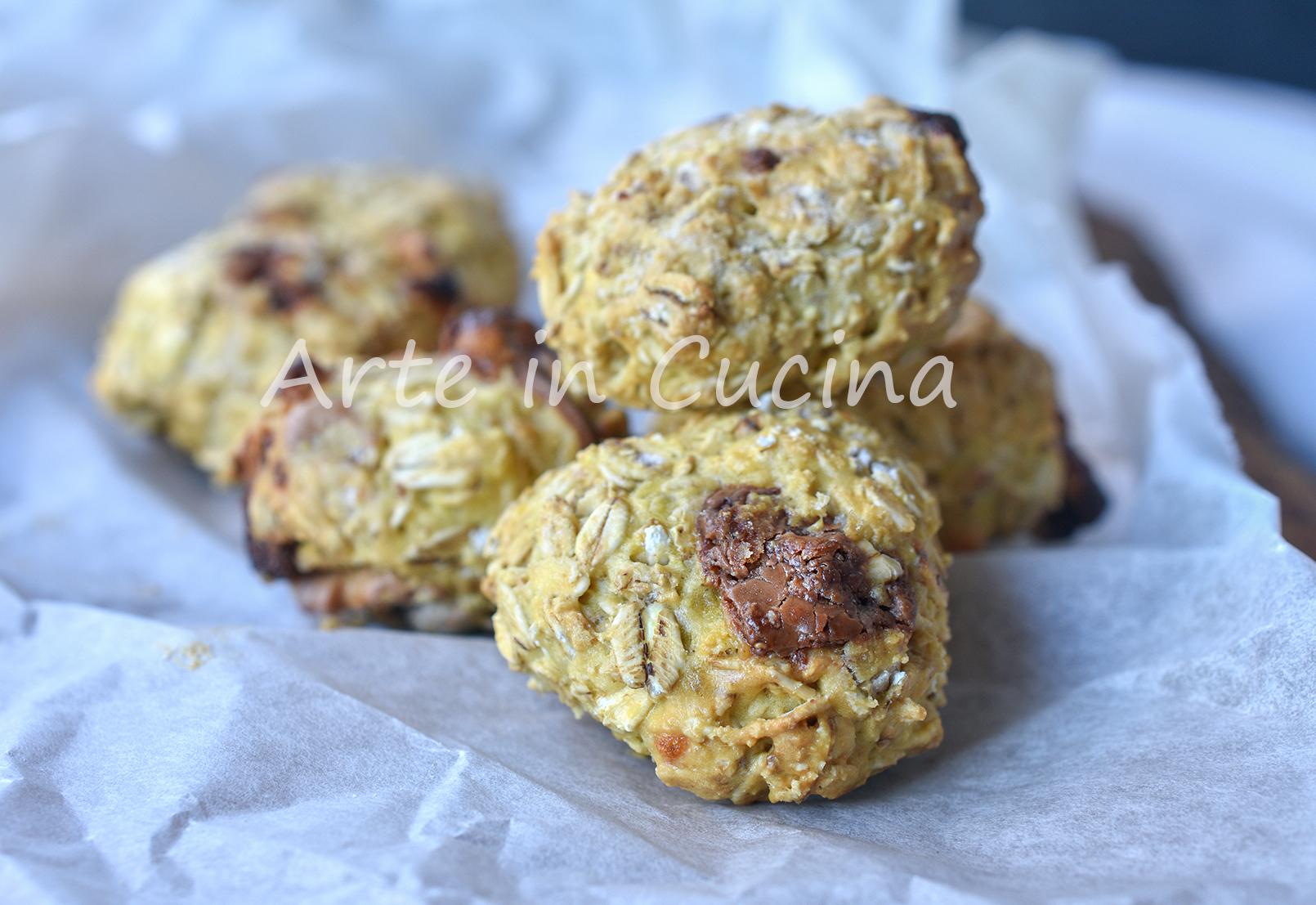 Biscotti avena noci e cioccolato