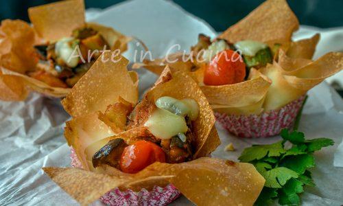 Fazzoletti di fillo verdure e mozzarella