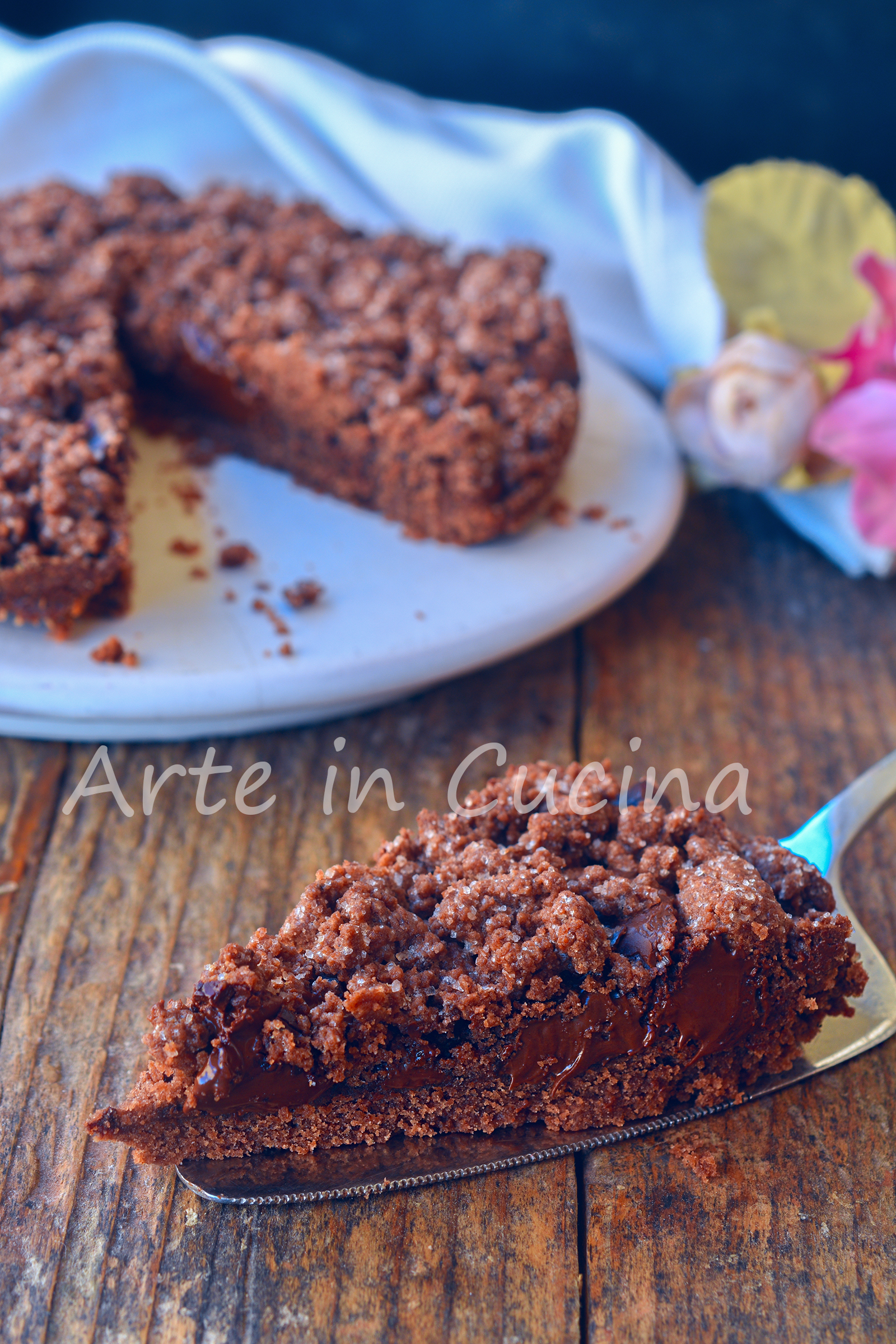 Sbriciolata al cacao con cioccolato e nutella