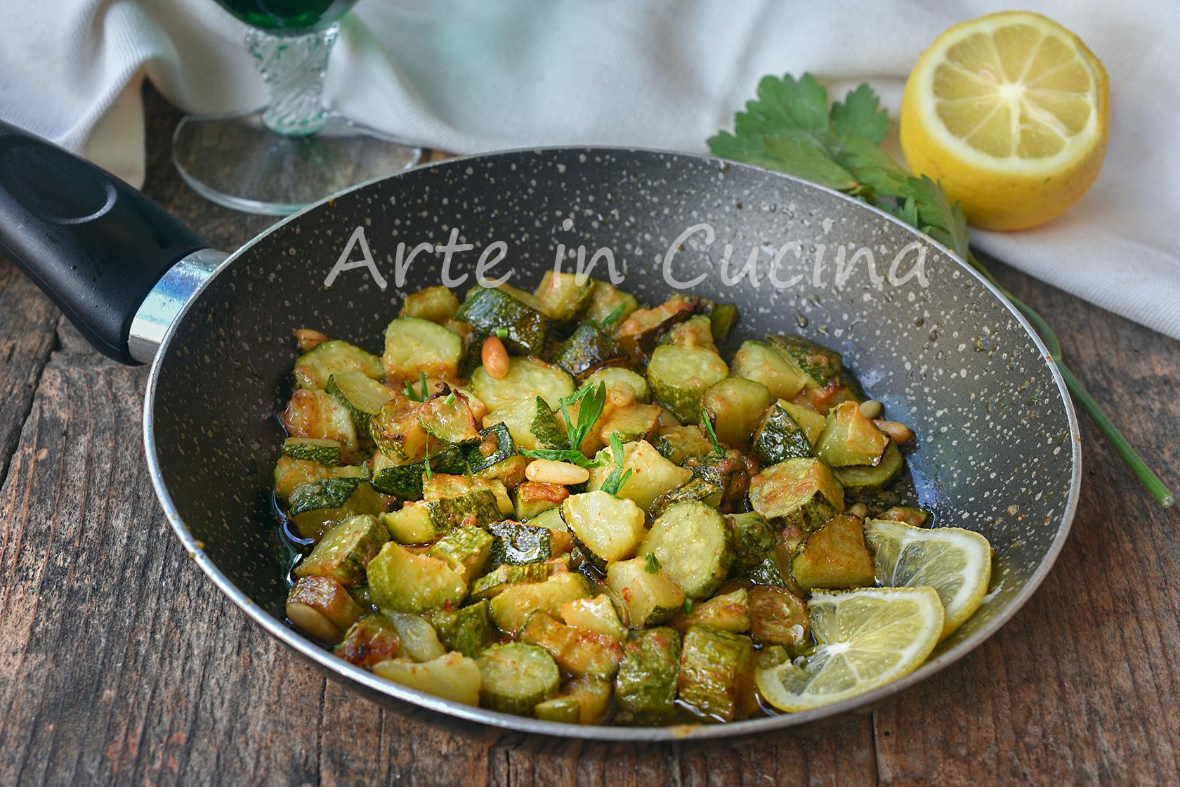 Zucchine gratinate al limone in padella contorno leggero