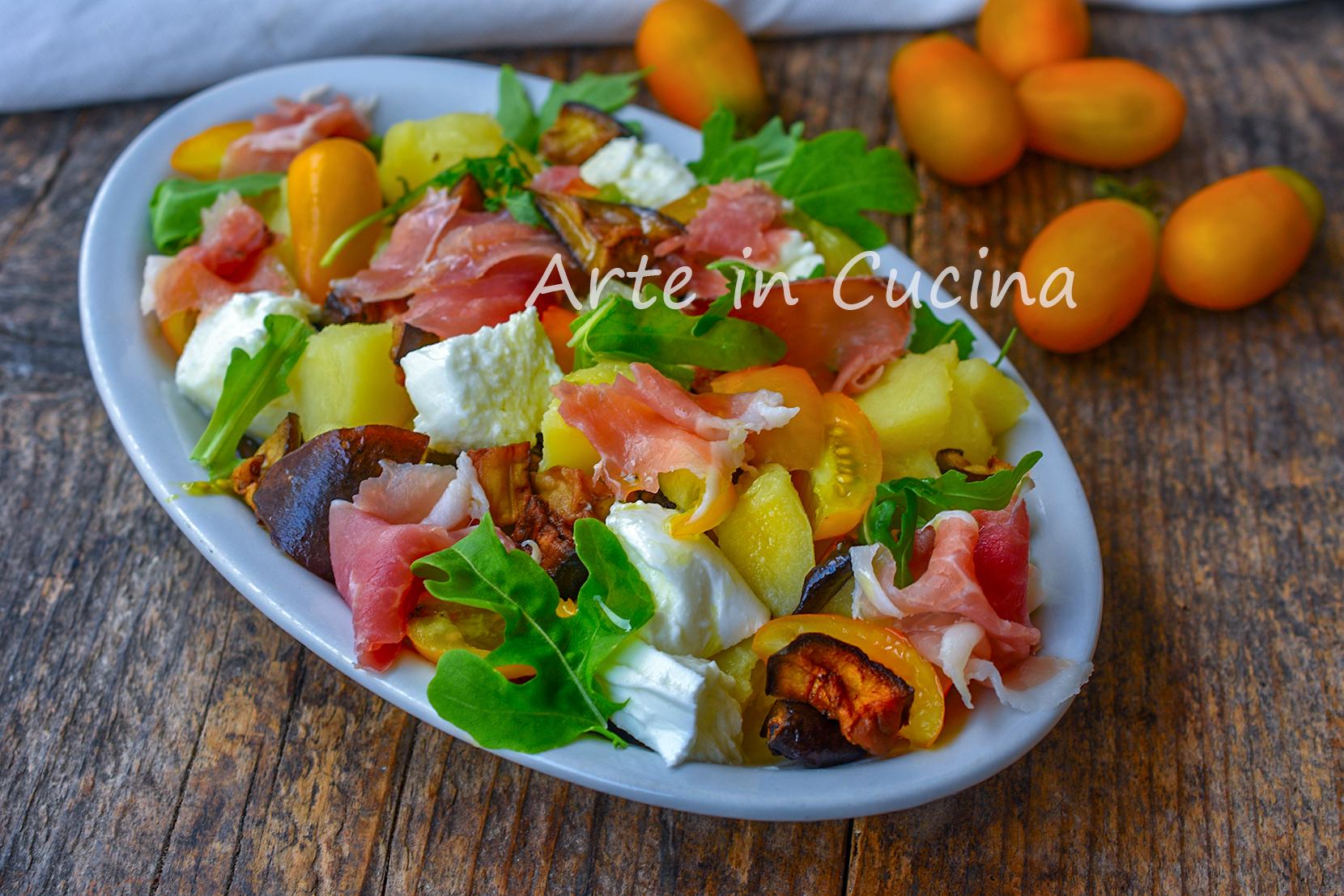 Insalata di patate con melanzane a funghetto