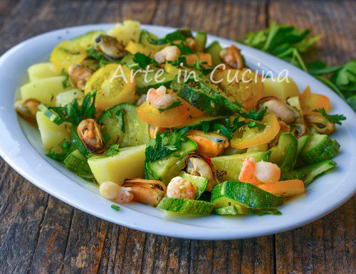 Zucchine con gamberetti insalata di mare