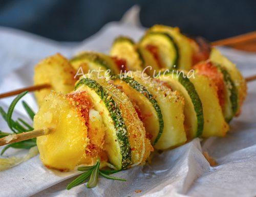 Spiedini di patate e zucchine con prosciutto