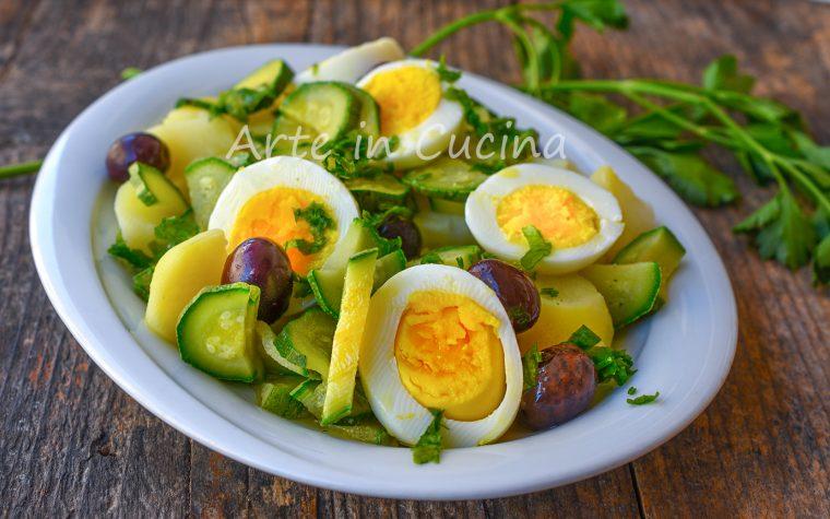 Zucchine con patate e uova contorno light