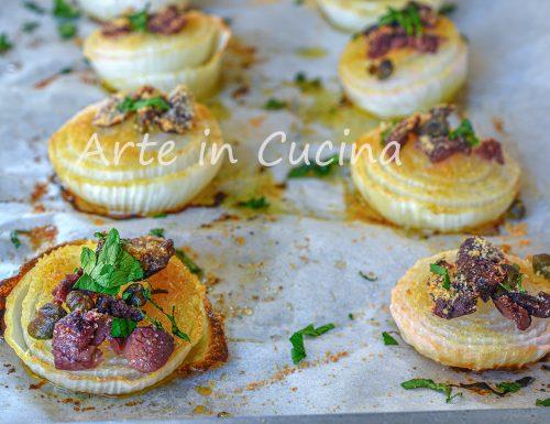 Cipolle gratinate al forno con capperi e olive